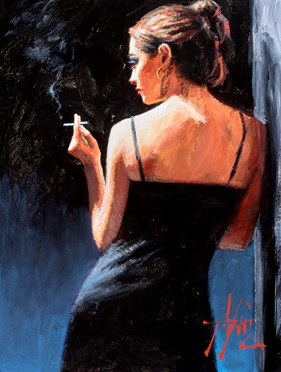 A Sensual Touch in the Dark (Reversed) by Fabian Perez - Original Painting on Stretched Canvas
